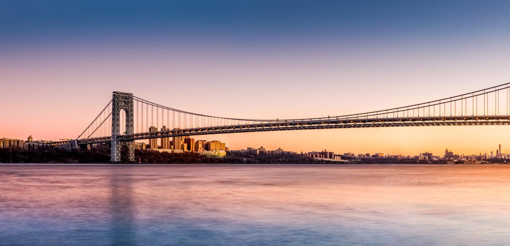 a bridge in sunset