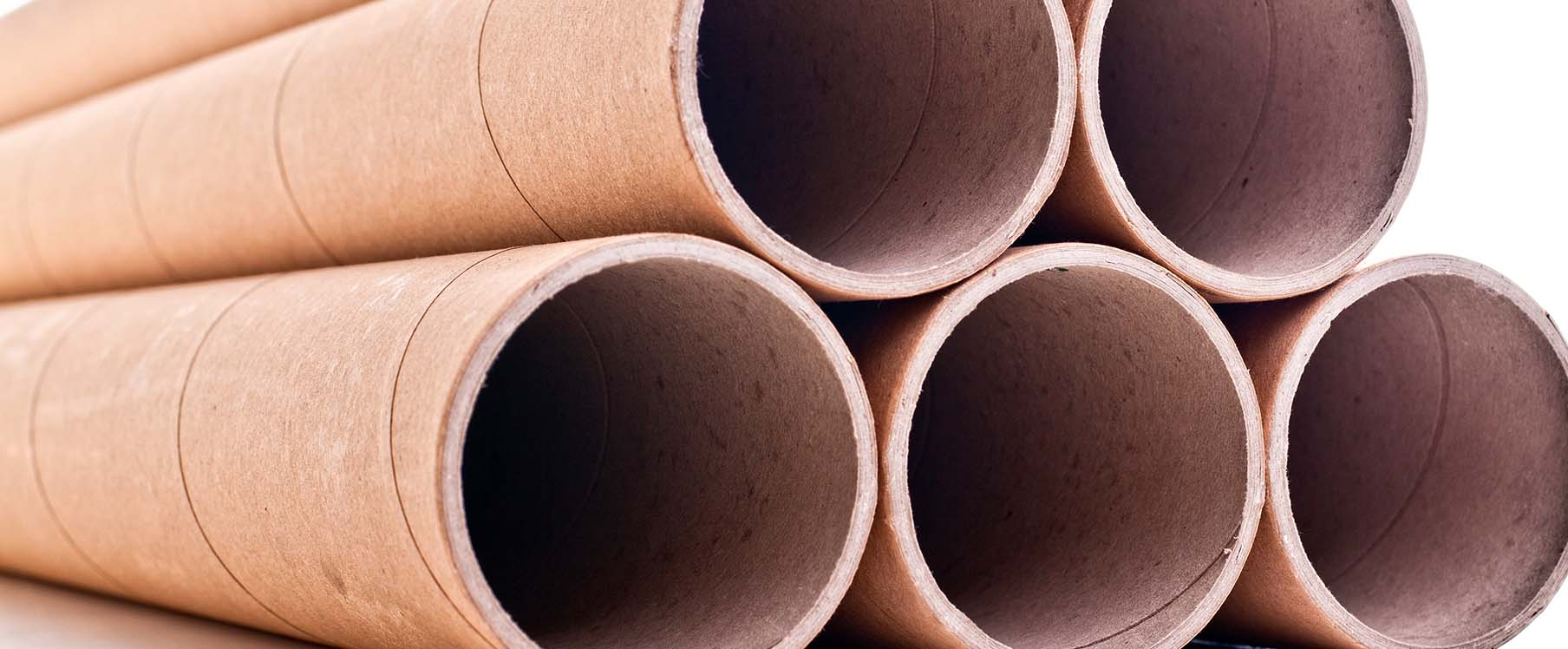 close-up of brown shipping tubes