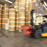 blurry forklift truck in action